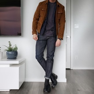 Charcoal Jeans Chill Weather Outfits For Men: This getup with a brown corduroy shirt jacket and charcoal jeans isn't so hard to assemble and leaves room to more experimentation. Black leather casual boots are a great pick to complete your getup.