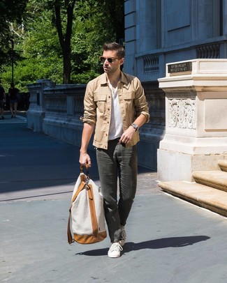 How to wear: tan shirt jacket, white henley shirt, charcoal chinos, white low top sneakers