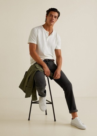 Charcoal Jeans Outfits For Men: An olive shirt jacket and charcoal jeans are a cool pairing to keep in your wardrobe. White leather low top sneakers are the most effective way to inject a hint of stylish casualness into this look.