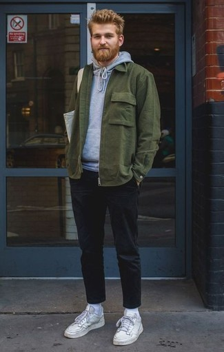 Men's Dark Green Shirt Jacket, Grey Hoodie, Black Chinos, White Leather Low Top Sneakers