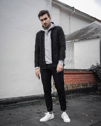 How to Wear a Grey Hoodie For Men: Perfect the neat and relaxed getup by wearing a grey hoodie and black chinos. Our favorite of a great number of ways to finish off this outfit is a pair of white canvas low top sneakers.