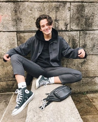 Dark Green Canvas High Top Sneakers Outfits For Men: This pairing of a charcoal shirt jacket and grey chinos is a foolproof option when you need to look dapper but have zero time. Complement your look with dark green canvas high top sneakers to keep the look fresh.