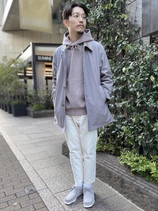 Grey Hoodie Smart Casual Outfits For Men: For a casual outfit, choose a grey hoodie and white chinos — these two items play really great together. Get a bit experimental when it comes to footwear and spruce up this look by rounding off with a pair of grey suede desert boots.