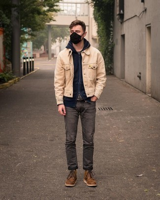 Charcoal Jeans Outfits For Men: A beige corduroy shirt jacket and charcoal jeans are an essential pairing for many sartorial-savvy gents. On the footwear front, this look pairs brilliantly with brown leather casual boots.