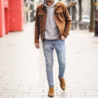 Tobacco Suede Shirt Jacket Outfits For Men: Consider wearing a tobacco suede shirt jacket and light blue jeans to achieve an extra stylish and current relaxed casual outfit. Tan suede chelsea boots will breathe an added touch of style into an otherwise utilitarian outfit.