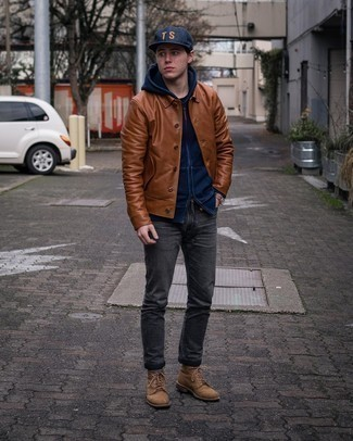 Charcoal Jeans Outfits For Men: Choose a tobacco leather shirt jacket and charcoal jeans for both sharp and easy-to-style getup. A good pair of brown suede casual boots ties this getup together.