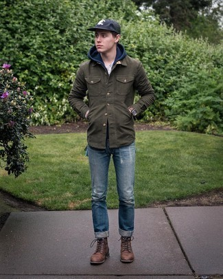 Dark Brown Leather Casual Boots Outfits For Men: No matter where the day takes you, you can always rely on this off-duty combination of an olive shirt jacket and blue ripped jeans. To give this look a more sophisticated vibe, add dark brown leather casual boots to the mix.