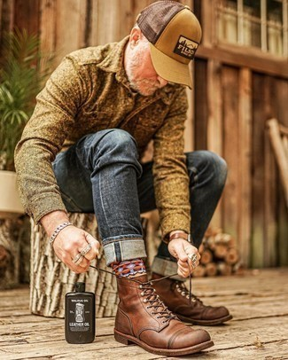 Charcoal Jeans Chill Weather Outfits For Men: If you're on the lookout for a casual yet sharp look, marry a brown wool shirt jacket with charcoal jeans. Brown leather casual boots complete this ensemble very well.
