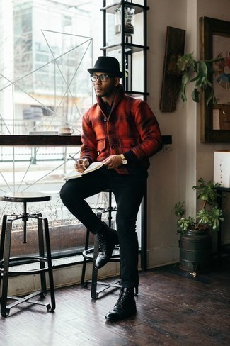 How to Wear a Black Wool Hat For Men: Try pairing a red check wool shirt jacket with a black wool hat if you're looking for a look idea for when you want to look casual and cool. To bring a bit of fanciness to this ensemble, add a pair of black leather casual boots to the equation. If you're often not sure how to dress as a gent in his twenties, this combo is a foolproof option.