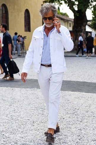 How to Wear a Shirt Jacket For Men: Opt for a shirt jacket and white chinos for relaxed elegance with a masculine spin. A pair of dark brown fringe leather loafers introduces a classy aesthetic to the outfit.