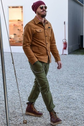Purple Beanie Outfits For Men: If you like stay-in clothing that's stylish enough to wear out, you should try this combination of a tobacco shirt jacket and a purple beanie. A pair of burgundy leather work boots is a great option to complete your outfit.