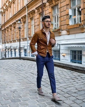 White Vertical Striped Long Sleeve Shirt Outfits For Men: To achieve a laid-back outfit with a modern twist, dress in a white vertical striped long sleeve shirt and navy chinos. If you want to feel a bit fancier now, introduce grey suede double monks to the equation.