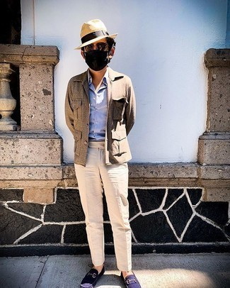 Beige Straw Hat Outfits For Men: This combo of a brown wool shirt jacket and a beige straw hat is hard proof that a safe off-duty getup can still be incredibly sharp. Add a different twist to this getup by sporting navy suede loafers.