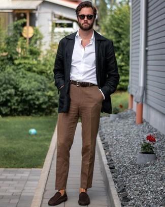 Men's Black Linen Shirt Jacket, White Long Sleeve Shirt, Brown Chinos, Dark Brown Suede Driving Shoes