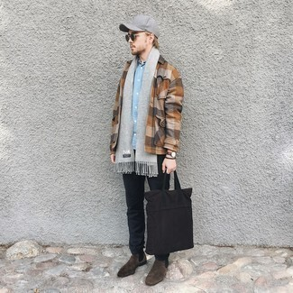 Grey Scarf Outfits For Men: Try teaming a brown check wool shirt jacket with a grey scarf for a trendy and relaxed outfit. If you need to immediately dial up this ensemble with footwear, complete your look with a pair of dark brown suede chelsea boots.