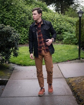 Men's Black Shirt Jacket, Multi colored Plaid Flannel Long Sleeve Shirt, Brown Chinos, Brown Suede Derby Shoes