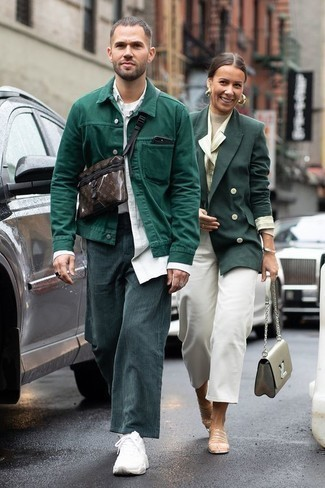 How to Wear White Athletic Shoes For Men: This combo of a dark green shirt jacket and teal corduroy chinos looks considered and makes any guy look instantly cooler. Let your sartorial sensibilities truly shine by completing your look with white athletic shoes.