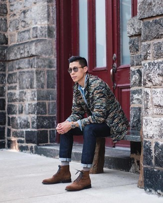 Dark Green Camouflage Shirt Jacket Outfits For Men: If you love casual pairings, then you'll like this combo of a dark green camouflage shirt jacket and navy jeans. Boost the dressiness of your look a bit by wearing brown suede casual boots.