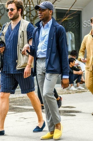 How to Wear a Navy Shirt Jacket For Men: Indisputable proof that a navy shirt jacket and grey dress pants look amazing when you team them together in a classy ensemble for a modern guy. For something more on the relaxed side to complete your getup, complete your outfit with yellow suede espadrilles.