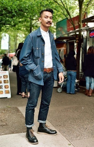 How To Wear Blue Jeans With Black Leather Boots For Men: Extremely stylish, this relaxed casual combination of a blue shirt jacket and blue jeans delivers amazing styling possibilities. Black leather boots look wonderful complementing this look.