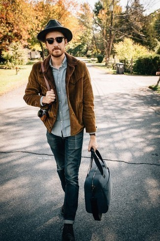 Charcoal Wool Hat Outfits For Men: A brown corduroy shirt jacket and a charcoal wool hat paired together are the ideal combination for those dressers who love casual styles. Here's how to inject a dash of elegance into this ensemble: black suede desert boots.