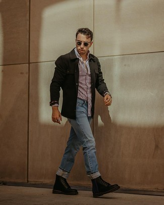 Men's Outfits 2020: Extremely stylish and practical, this relaxed casual combo of a black shirt jacket and light blue jeans will provide you with variety. Our favorite of an endless number of ways to complete this outfit is with a pair of black leather casual boots.