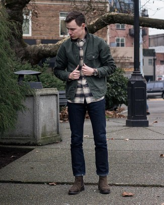 Dark Green Shirt Jacket Outfits For Men: A dark green shirt jacket and navy jeans paired together are a match made in heaven for those who love laid-back and cool styles. And if you want to easily perk up this outfit with one single item, complete this look with a pair of dark brown suede chelsea boots.