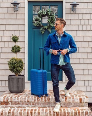 Navy Shirt Jacket Outfits For Men: A navy shirt jacket and navy jeans will convey this laid-back and cool vibe. A trendy pair of white and green leather low top sneakers is an easy way to add an element of stylish casualness to your ensemble.