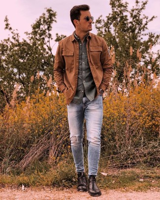How to wear: tobacco shirt jacket, olive long sleeve shirt, light blue ripped skinny jeans, black leather chelsea boots