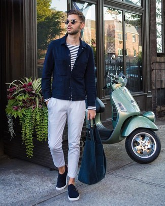 How to wear: navy shirt jacket, white and navy horizontal striped long sleeve t-shirt, white chinos, navy suede double monks