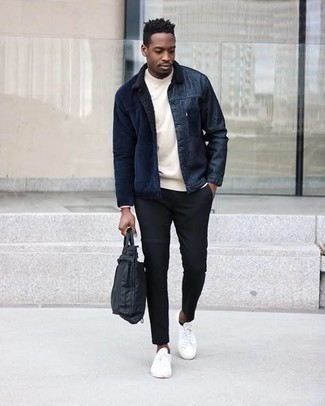 Black Nylon Briefcase Casual Outfits: A navy corduroy shirt jacket and a black nylon briefcase are a great combination to keep in your casual collection. On the shoe front, go for something on the smarter end of the spectrum by rounding off with white canvas low top sneakers.