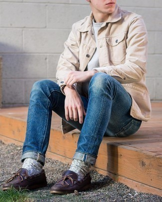 Dark Brown Leather Boat Shoes Outfits: For an off-duty outfit, try pairing a beige corduroy shirt jacket with blue jeans — these pieces go pretty good together. A pair of dark brown leather boat shoes finishes this outfit quite nicely.
