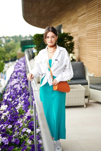 How to wear: white shirt jacket, teal silk maxi dress, white low top sneakers, tobacco leather crossbody bag