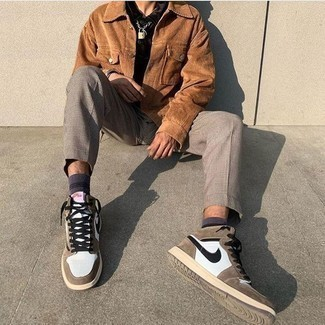 White and Brown High Top Sneakers Outfits For Men: For an ensemble that's super straightforward but can be flaunted in many different ways, dress in a tan corduroy shirt jacket and grey check chinos. Add a pair of white and brown high top sneakers to the equation to change things up a bit.