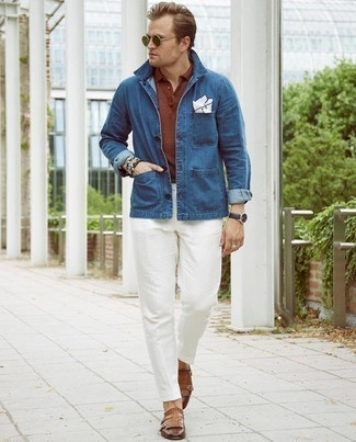 Olive Sunglasses Outfits For Men: Marrying a navy denim shirt jacket with olive sunglasses is a savvy choice for a relaxed casual but stylish getup. Complete this outfit with a pair of brown leather double monks for a masculine aesthetic.