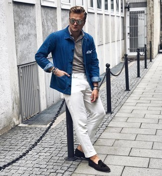 Grey Polo Outfits For Men: A grey polo and white chinos teamed together are the ideal outfit for those who appreciate cool and relaxed looks. Complement this outfit with a pair of black suede tassel loafers for a truly modern hi/low mix.