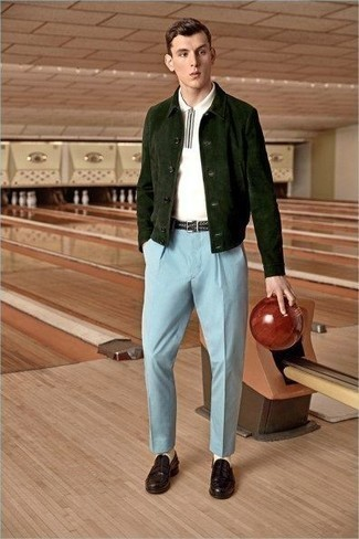 Light Blue Dress Pants Outfits For Men: Loving how this pairing of a dark green suede shirt jacket and light blue dress pants instantly makes a man look stylish and refined. Our favorite of a ton of ways to round off this outfit is with a pair of burgundy leather loafers.