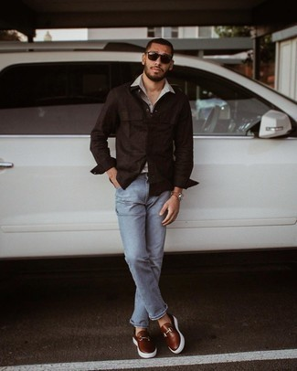 Grey Polo Outfits For Men: This combo of a grey polo and light blue jeans will be a true reflection of your skills in menswear styling even on off-duty days. If you need to effortlessly step up your outfit with a pair of shoes, add dark brown leather loafers.
