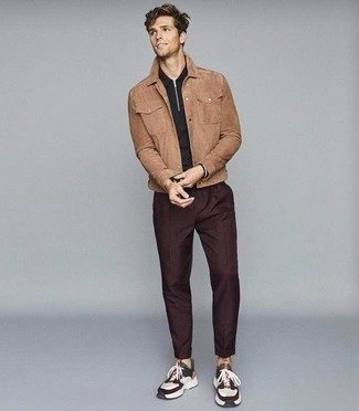 Black Polo Neck Sweater Outfits For Men: Marrying a black polo neck sweater and burgundy chinos will hallmark your skills in men's fashion. For something more on the casual side to round off your outfit, complete your look with a pair of multi colored athletic shoes.