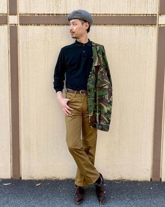 Dark Green Camouflage Shirt Jacket Outfits For Men: Marry a dark green camouflage shirt jacket with khaki jeans to create a casual and cool ensemble. For something more on the daring side to finish off your ensemble, add a pair of dark brown leather cowboy boots to the mix.