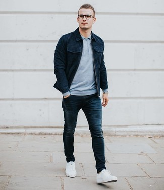 How to wear: navy suede shirt jacket, light blue polo neck sweater, navy skinny jeans, white low top sneakers