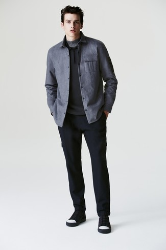 Which Cargo Pants To Wear With a Grey Turtleneck: For a casually stylish look, wear a grey turtleneck with cargo pants — these items go pretty good together. When it comes to shoes, complete your getup with a pair of black and white suede low top sneakers.
