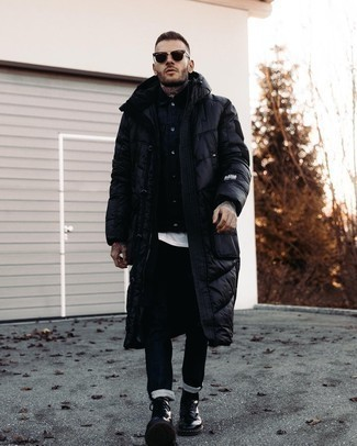 Black Leather Casual Boots Outfits For Men: Teaming a navy shirt jacket with black jeans is a wonderful option for a casual and cool ensemble. Introduce a pair of black leather casual boots to the mix and ta-da: the outfit is complete.