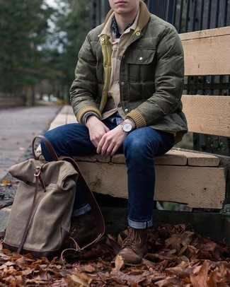 Navy Plaid Long Sleeve Shirt Outfits For Men: Seriously stylish yet functional, this outfit features a navy plaid long sleeve shirt and navy jeans. Rounding off with a pair of dark brown leather casual boots is a surefire way to introduce some extra depth to this look.