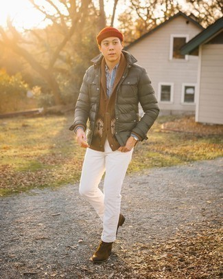 Men's Outfits 2020: Reach for a brown fair isle shawl cardigan and a light blue chambray long sleeve shirt and you'll pull together a sleek and sophisticated look.