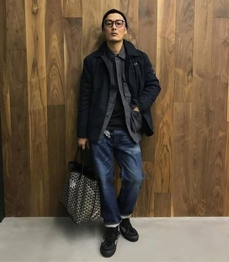 How to Wear a Black and White Print Canvas Tote Bag For Men: For a street style ensemble, Try pairing a black shirt jacket with a black and white print canvas tote bag. Now all you need is a cool pair of black and white canvas high top sneakers to finish this outfit.