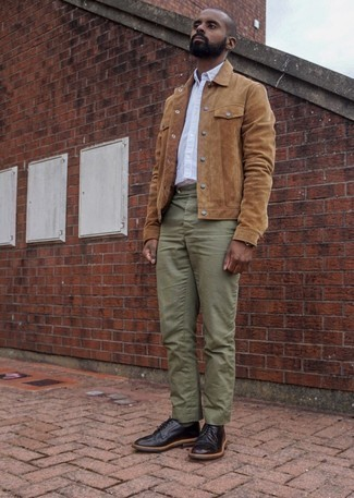 Black Leather Derby Shoes Outfits: This semi-casual pairing of a tan suede shirt jacket and olive chinos is extremely easy to put together in seconds time, helping you look seriously stylish and prepared for anything without spending too much time rummaging through your wardrobe. To give your look a more polished feel, why not introduce a pair of black leather derby shoes to the mix?