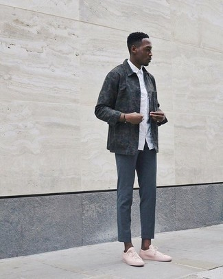 Dark Brown Bracelet Outfits For Men: This contemporary combo of a charcoal camouflage shirt jacket and a dark brown bracelet can only be described as devastatingly dapper. Unimpressed with this ensemble? Enter a pair of pink canvas low top sneakers to spice things up.