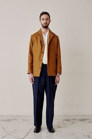 Boots Outfits For Men: This combo of a tobacco shirt jacket and navy chinos will add effortlessly sophisticated essence to your ensemble. Let your styling savvy really shine by finishing off your ensemble with a pair of boots.