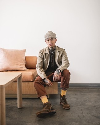 Dark Brown Suede Casual Boots Outfits For Men: A beige shirt jacket and brown chinos worn together are a match made in heaven for guys who appreciate casually neat styles. All you need is a pair of dark brown suede casual boots.